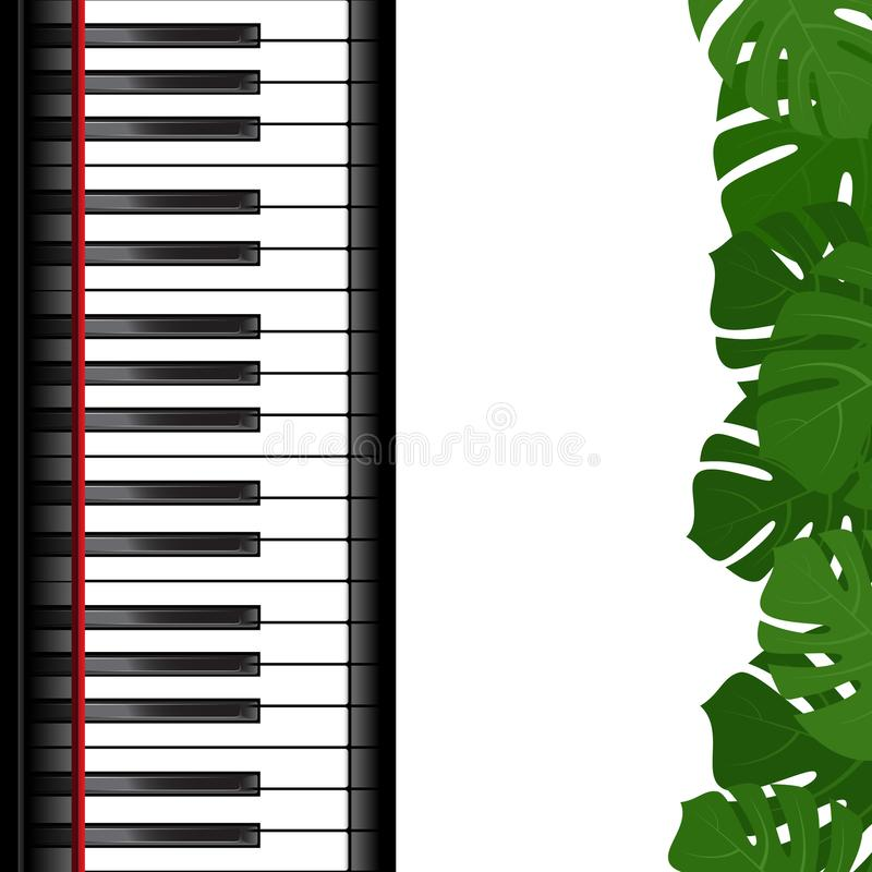 Piano keyboard with monstera leaves frame. Piano keyboard and monstera leaves frame as template for card. Vector illustration vector illustration