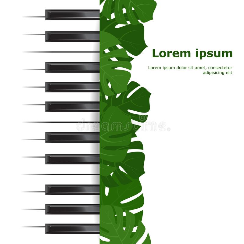 Piano keyboard with monstera leaves frame royalty free illustration