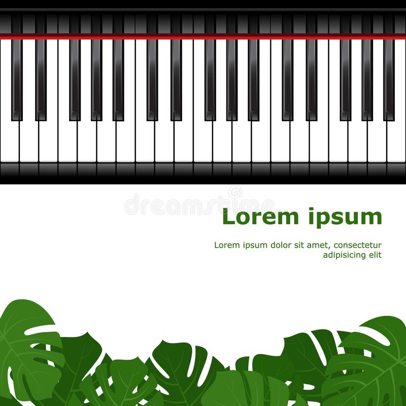Piano keyboard with monstera leaves frame. Piano keyboard and monstera leaves frame as template for card. Vector illustration royalty free illustration