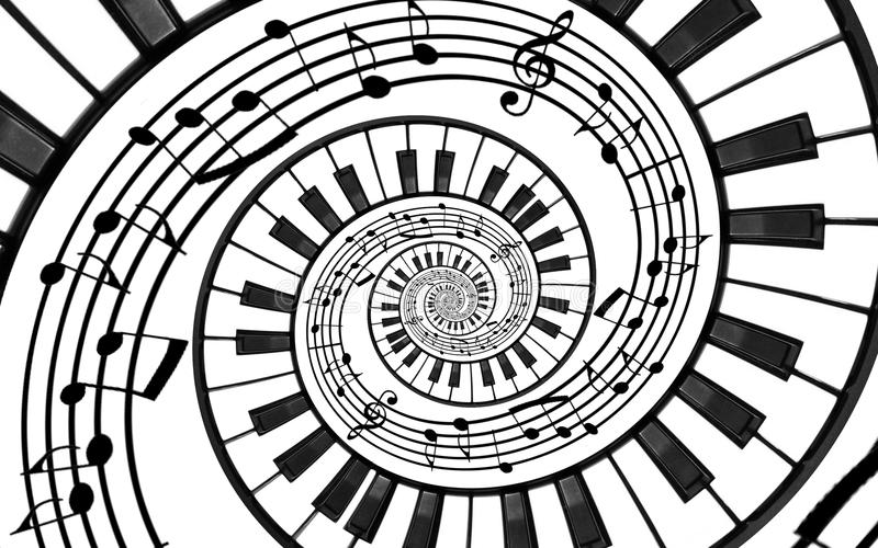 Piano keyboard printed music abstract fractal spiral pattern background. Black and white piano keys round spiral. Spiral stair. Pi royalty free illustration
