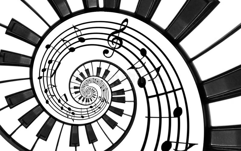 Piano keyboard printed music abstract fractal spiral pattern background. Black and white piano keys round spiral. Spiral stair. Pi stock illustration