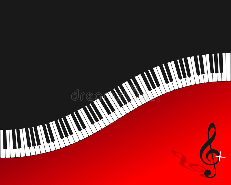 Piano Keyboard Red Background stock illustration