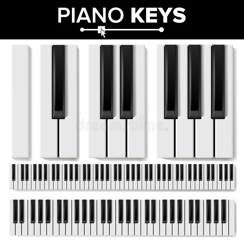 Piano Keyboard Vector. Realistic Isolated Illustration. Musical Piano Key Top View. Keyboard Pad vector illustration