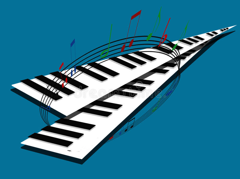 Piano Keyboards With Musical Notes Royalty Free Stock Photography
