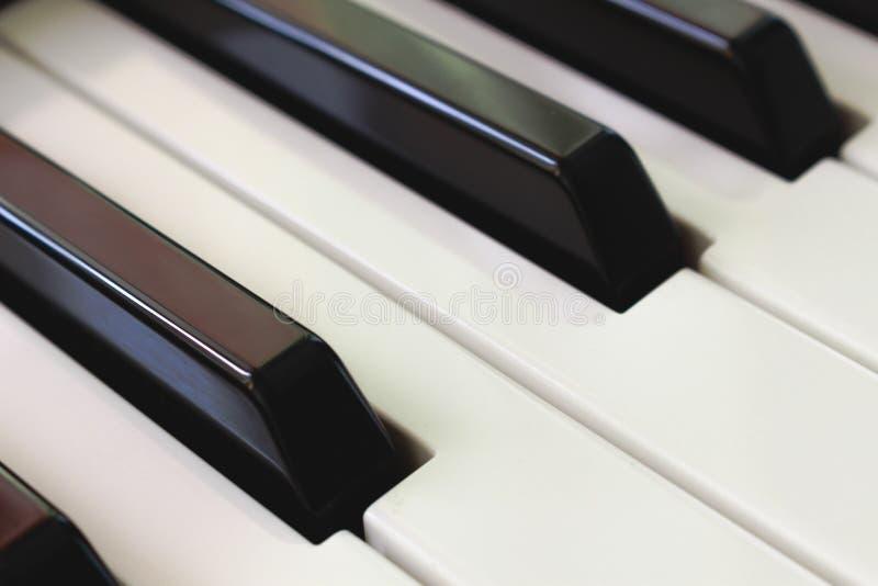 Piano keybord diagonal shot. Musical concept. Macro stock photo