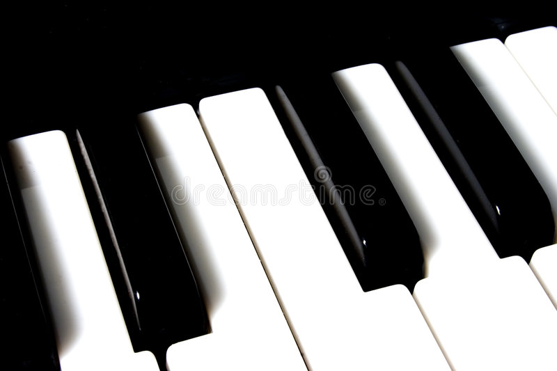 Piano Keys. Close up of the white and black keys on a piano