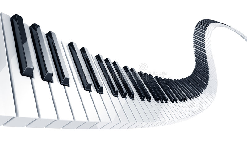 Piano keys. 3d rendering of wavy piano keys stock illustration