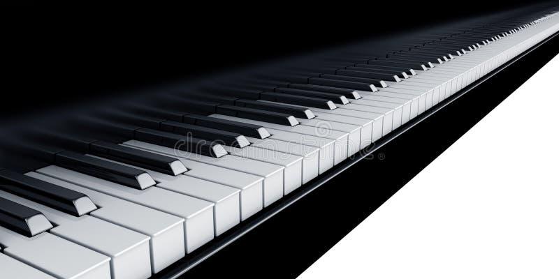 Piano keys. 3d rendering of piano keys stock illustration