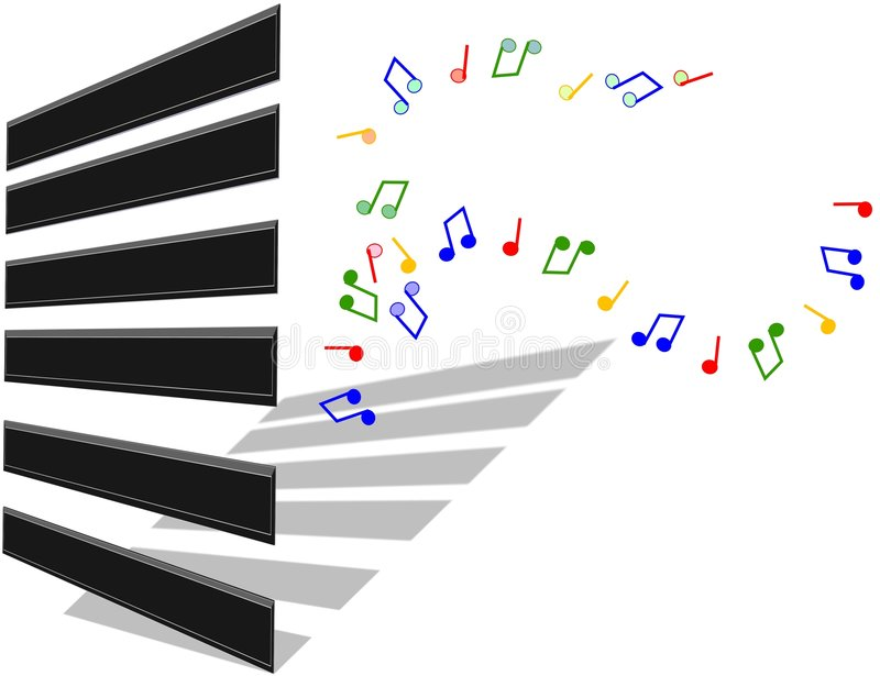 Piano keys. With musical notes illustration in 3d stock illustration