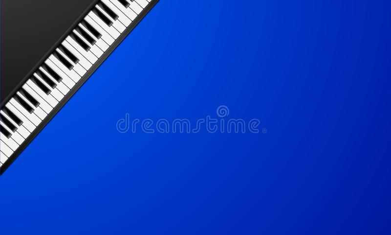 Piano Keys Background. Detailed illustration of piano keys on a blue background stock illustration