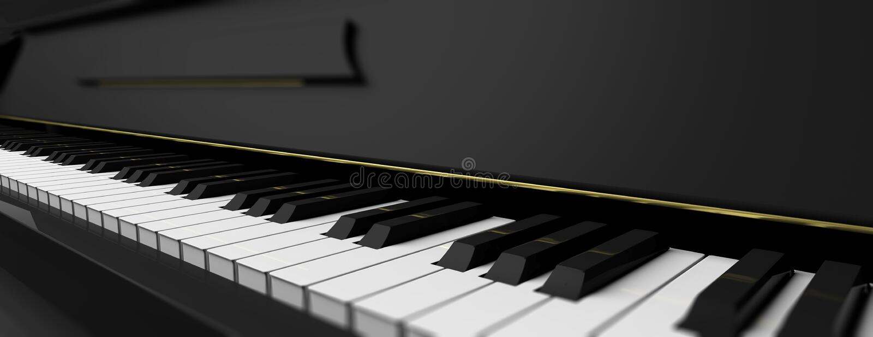 Piano keys on black piano. 3d illustration stock illustration