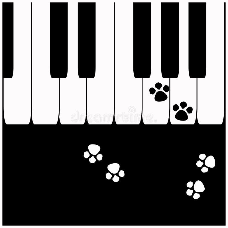 Piano keys with cat footprints. Piano keys with cute cat footprints royalty free illustration