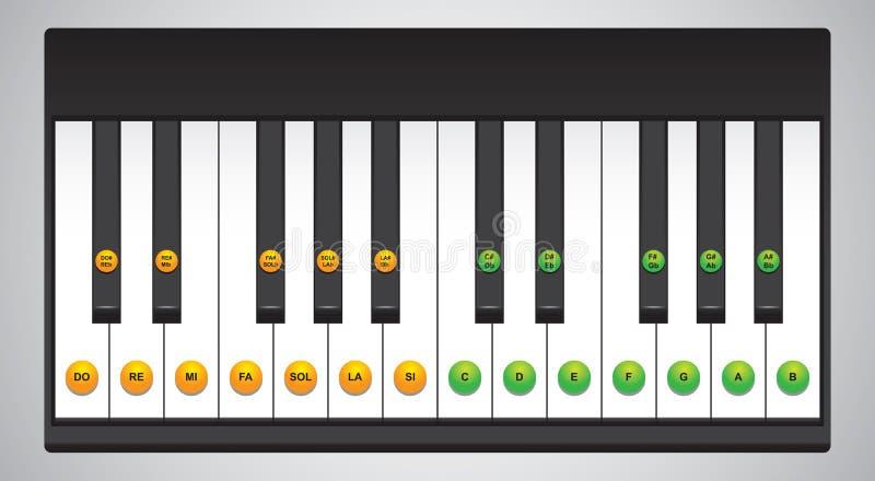 Piano keys chart. Chart of piano keys with corresponding sound symbols vector illustration