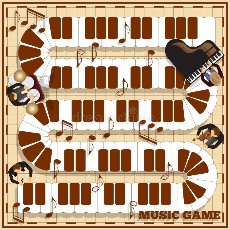 Piano keys on a checkered field. royalty free illustration