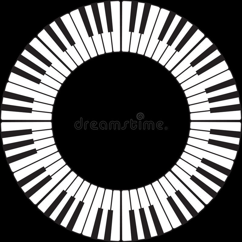 Piano keys in a circle stock illustration