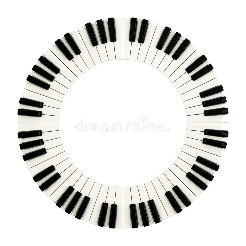 Piano keys circle, 3d stock illustration