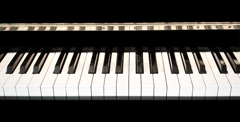 Piano keys close up with black and white keyboard stock photo