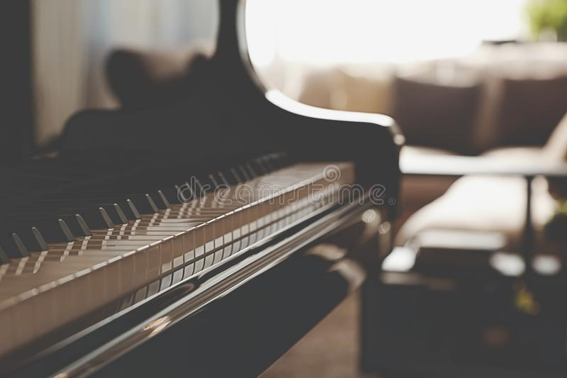 Piano keys close up stock images