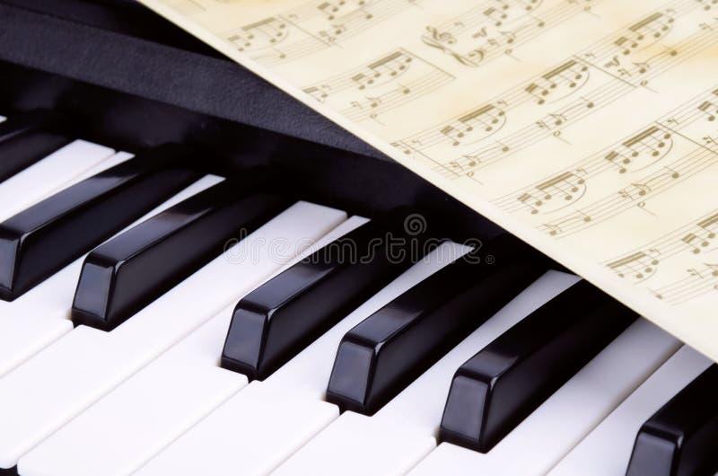 Piano keys closeup, music stock image