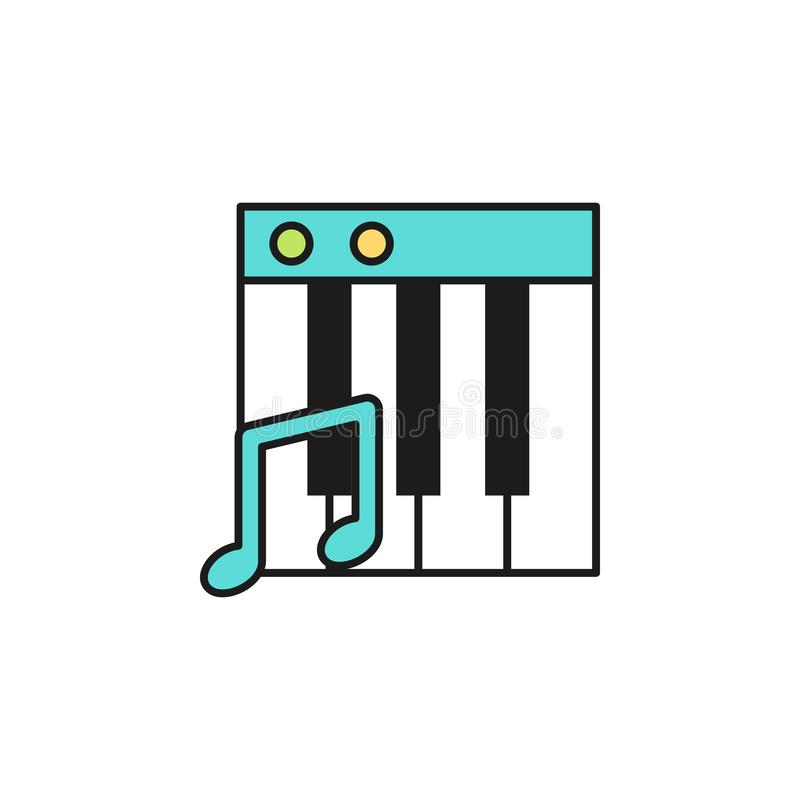 Piano keys colored icon. Element of birthday party icon for mobile concept and web apps. Colored piano keys icon can be used for w. Eb and mobile on white stock illustration
