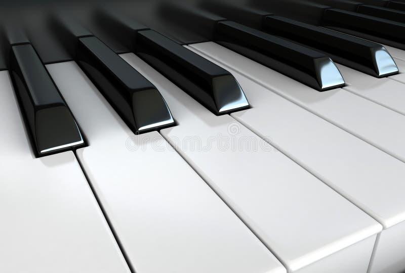Piano keys. 3d render of white and black piano keys stock illustration