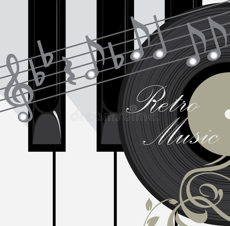 Piano keys, disc and notes. Music background stock illustration