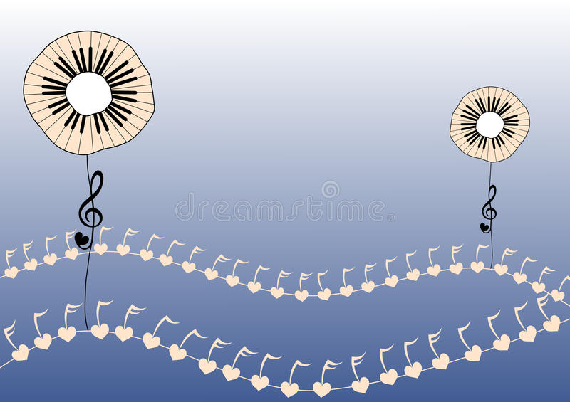 Piano Keys Flowers. Piano keyboard flowers planted on musical field vector illustration