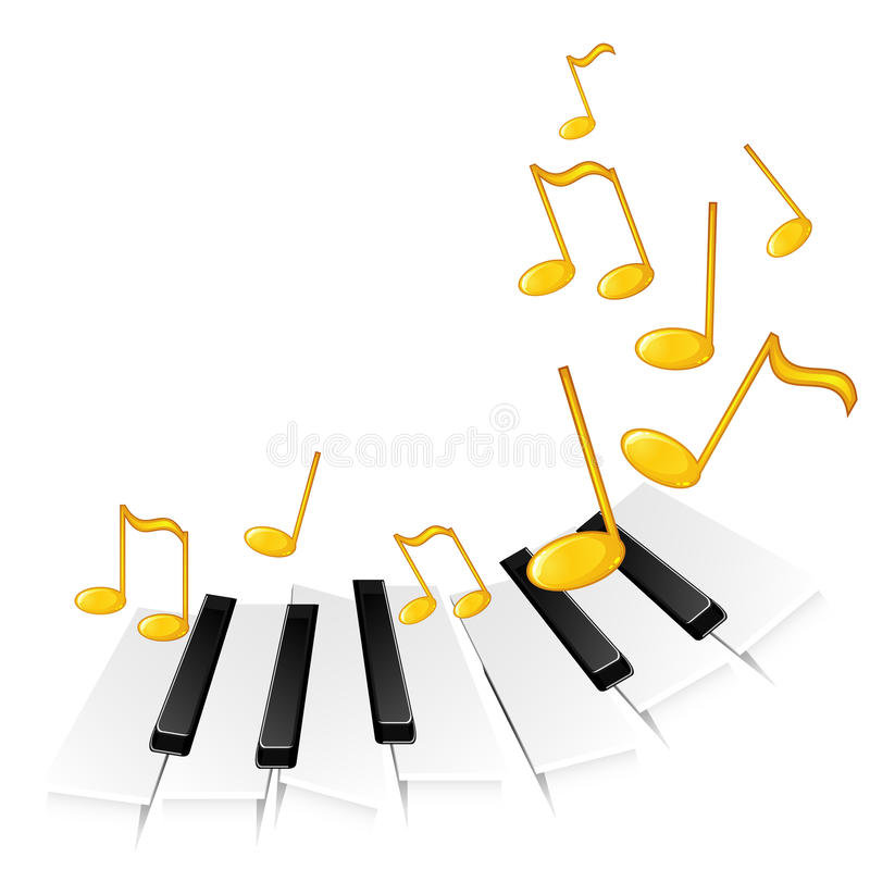 Download Piano keys and gold notes stock photo. Image of concept - 19418044