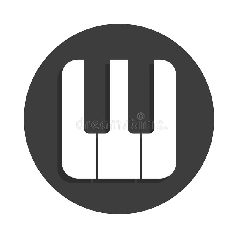 Piano keys icon in Badge style with shadow. On white background stock illustration