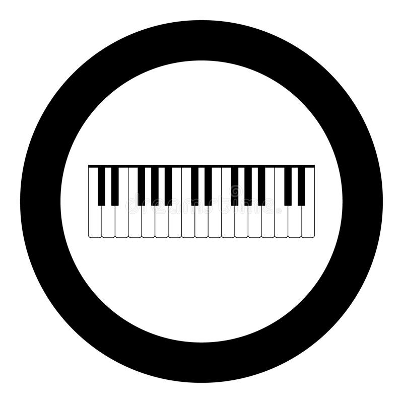 Piano keys icon black color in circle vector illustration