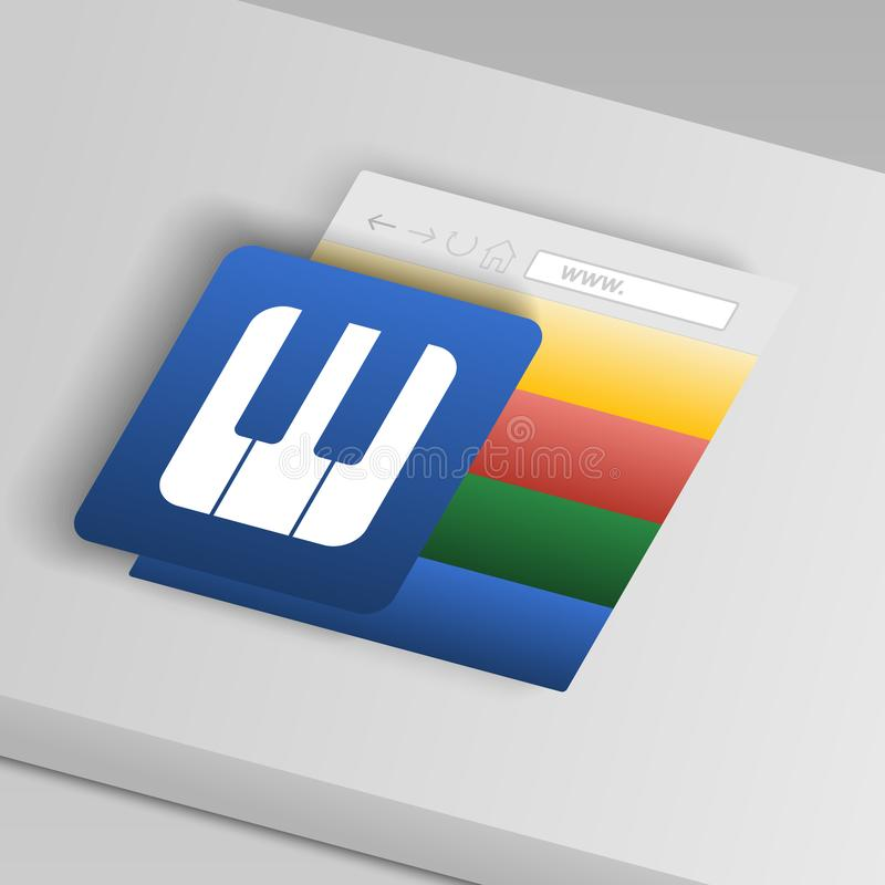 Piano keys icon. From collection button icons. Vector vector illustration