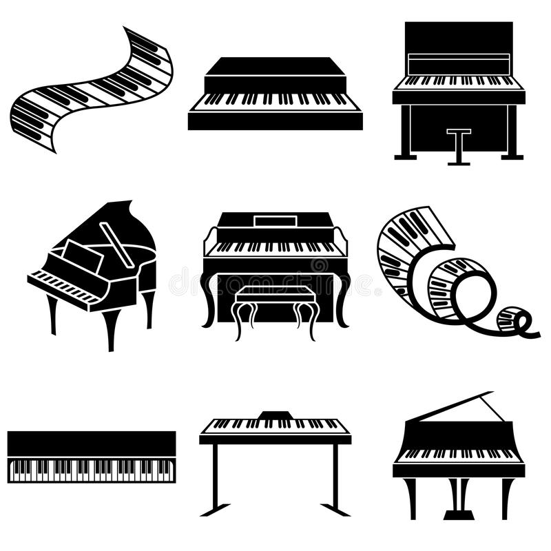 Piano and keys icons. Set vector illustration