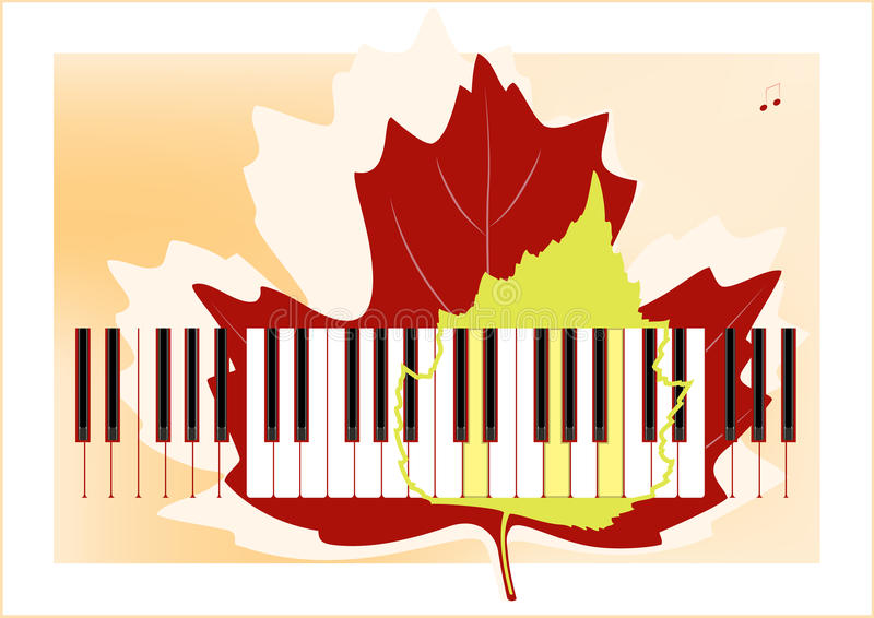 Piano keys and leaves