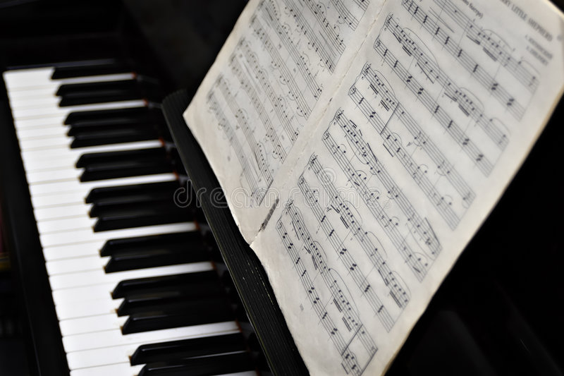 Piano, keys and music copy-book