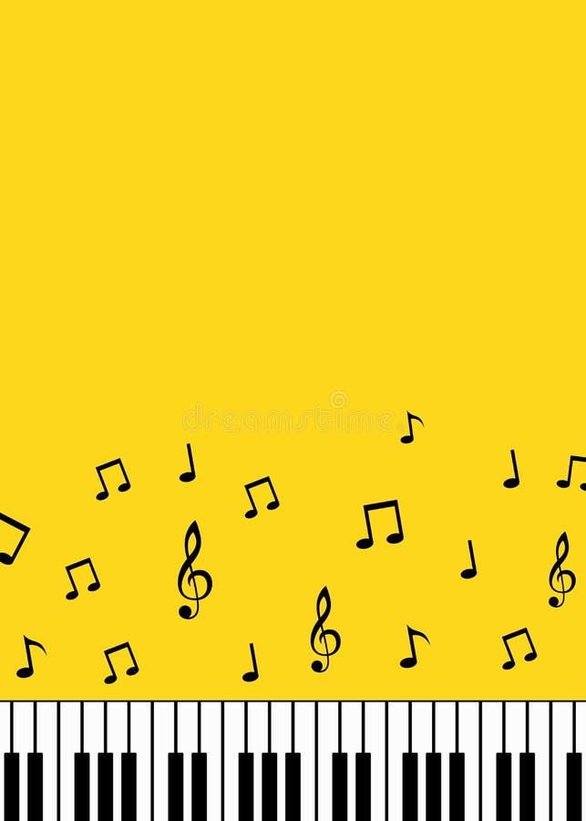 Piano keys and music notes minimalist background. Piano keys and music notes minimalist yellow background stock illustration