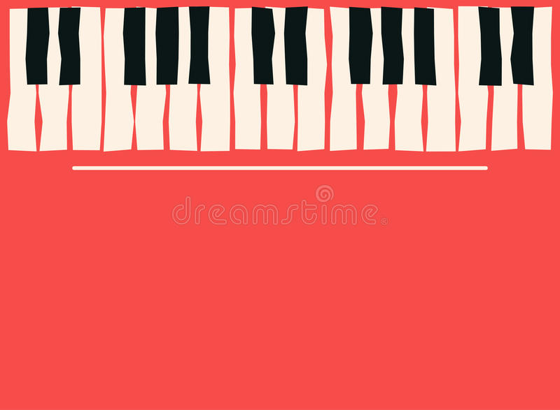 Piano keys. Music poster template. Jazz and blues music concert background stock illustration