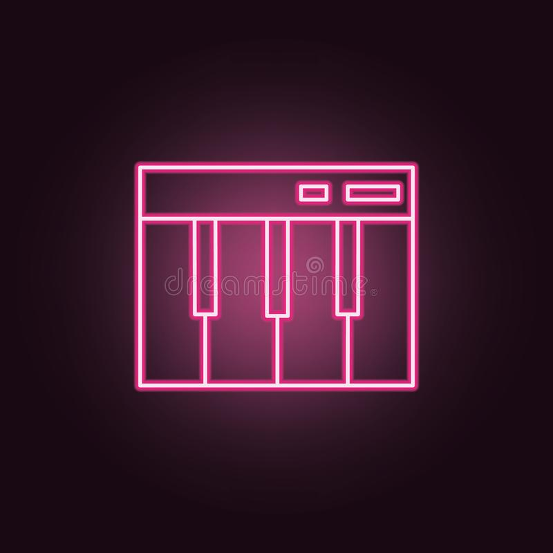Piano keys neon icon. Elements of Party set. Simple icon for websites, web design, mobile app, info graphics. On dark gradient background vector illustration