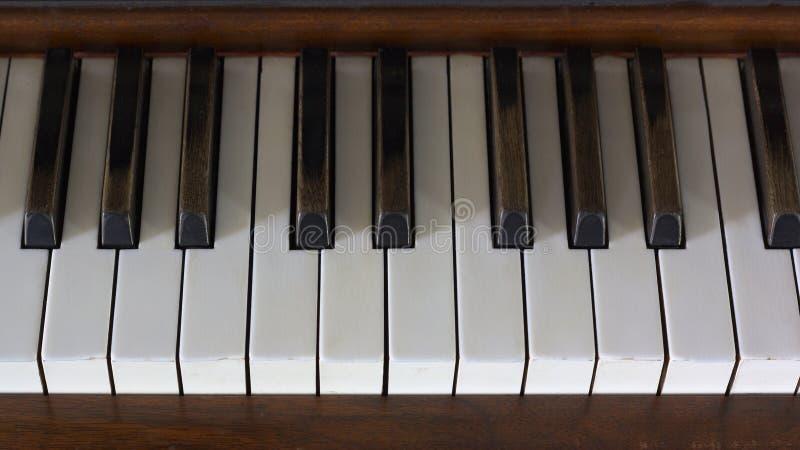 Piano Keys Old Time Ebony on White Grand royalty free stock image