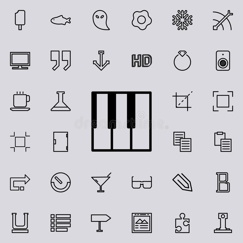 Piano keys outline icon. Detailed set of minimalistic line icons. Premium graphic design. One of the collection icons for websites. Web design, mobile app on stock illustration