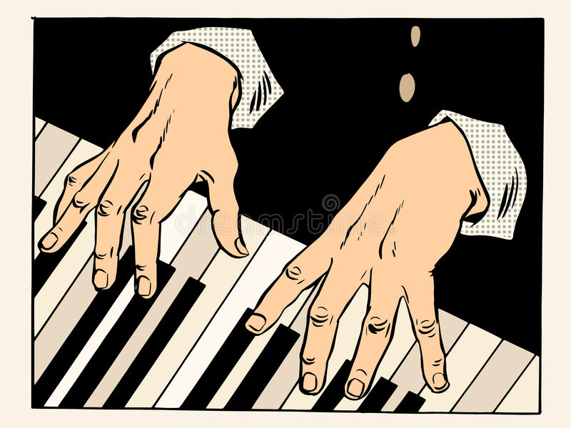 Piano keys pianist hands. The piano keys pianist hands. Music and classical art, creativity pop art retro style vector illustration