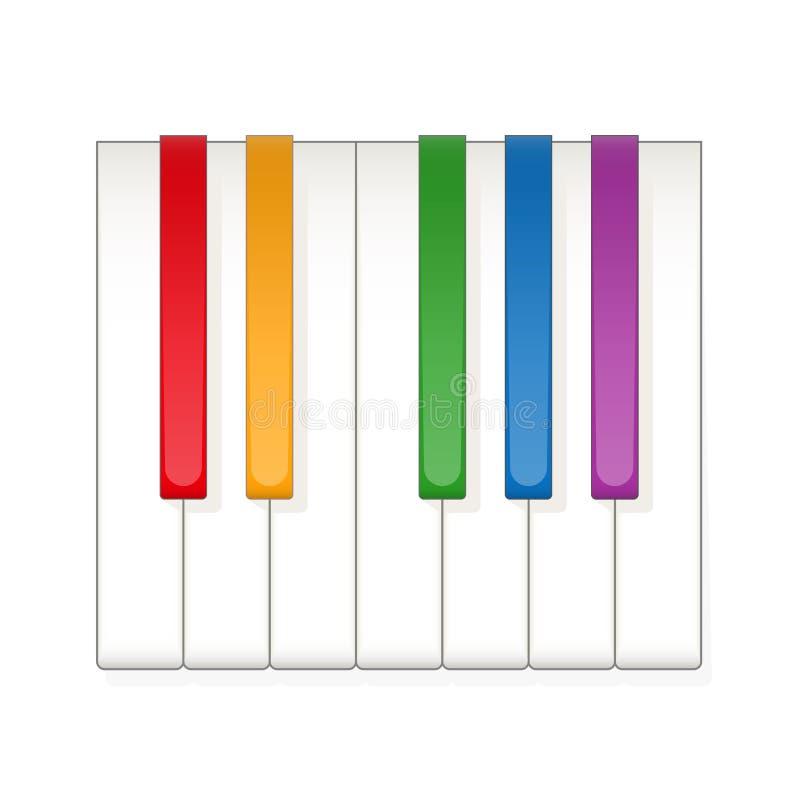 Piano Keys Rainbow Colored Octave royalty free illustration