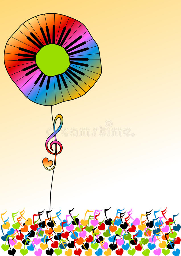 Piano Keys Rainbow Flower vector illustration