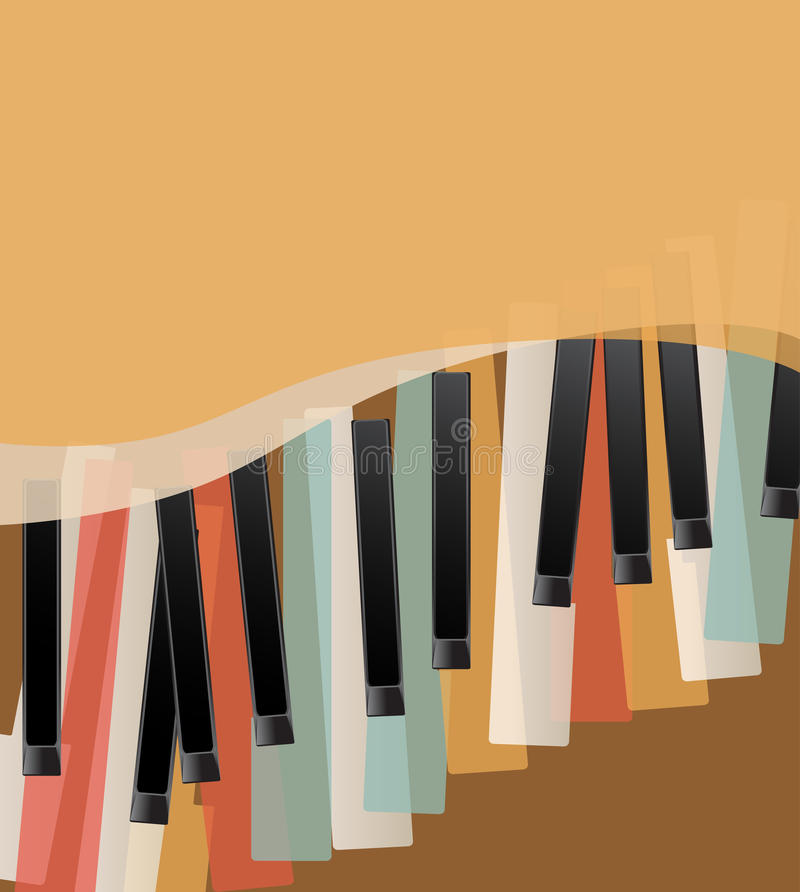 Piano keys retro. Orange background with space for text vector illustration