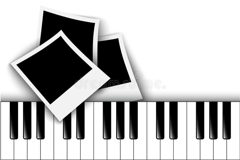 Piano keys. Retro photo frame. vector illustration