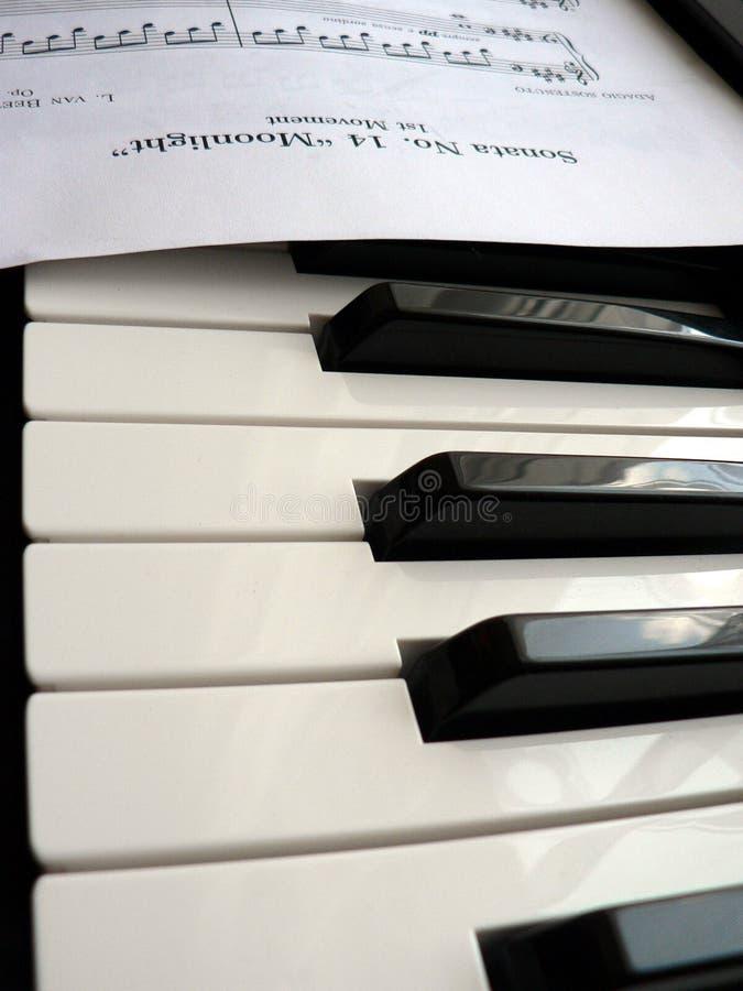 Piano keys and sheet music royalty free stock photos