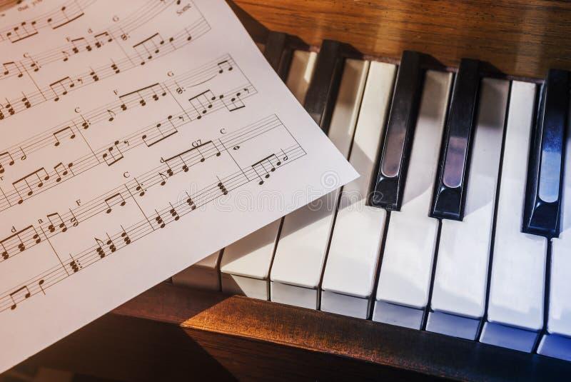Piano keys and sheet music stock image