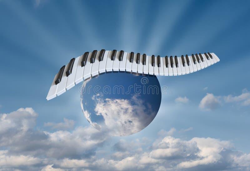 Piano keys in the sky on the globe royalty free stock photography