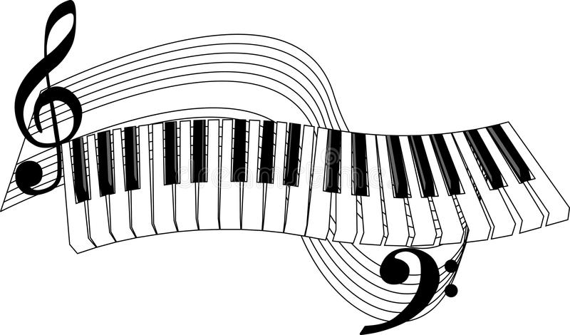 Piano Keys. And stave in vector format vector illustration