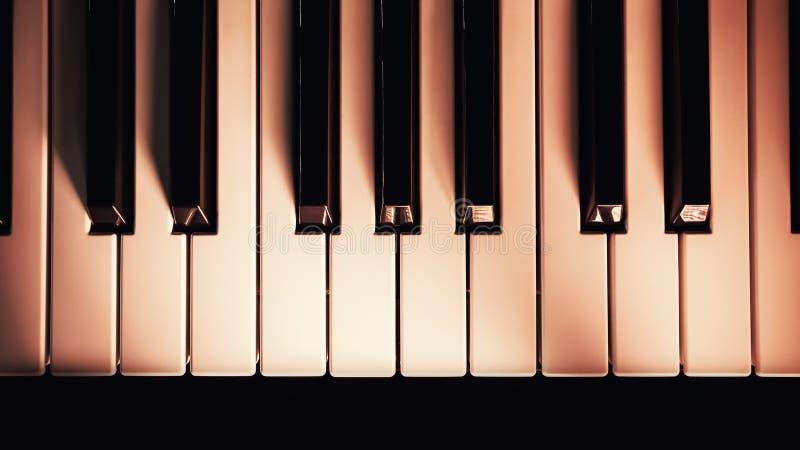 Piano Keys Under Red Illumination royalty free stock photography