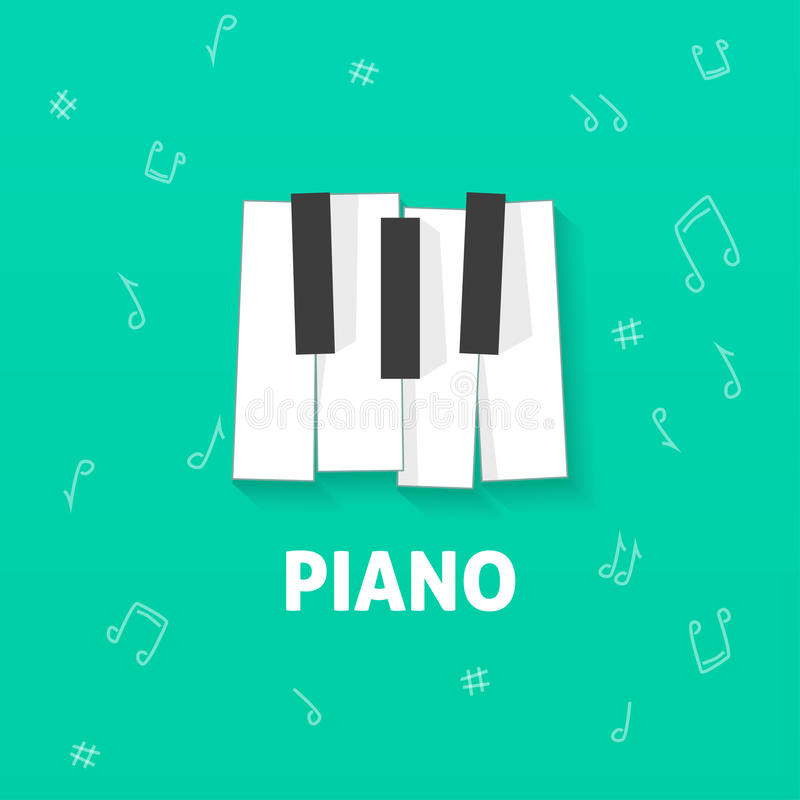 Download Piano Keys Vector Flat Logo Isolated On Green Notes Background Stock